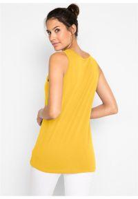Długi top bawełniany (5 sztuk) bonprix żółty kanarkowy + kremowy miętowy + morelowy + czarny + biały. Kolor: żółty. Materiał: bawełna. Długość: długie