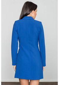 Figl - Elegancka żakietowa dwurzędowa sukienka. Okazja: na spotkanie biznesowe. Materiał: dzianina, elastan. Długość rękawa: długi rękaw. Wzór: gładki. Typ sukienki: proste. Styl: elegancki