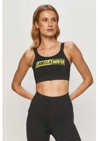 Czarny biustonosz sportowy LABELLAMAFIA z nadrukiem, z odpinanymi ramiączkami