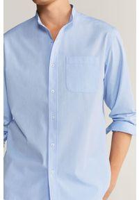 Niebieska koszula Mango Man elegancka, na co dzień, długa, ze stójką
