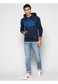 Superdry Bluza Vl Chenille Hood M2011142A Granatowy Regular Fit. Kolor: niebieski