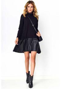 Makadamia - Czarna Sukienka z Golfem i Skórzaną Falbanką. Typ kołnierza: golf. Kolor: czarny. Materiał: skóra