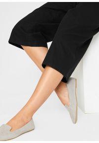 Kombinezon lniany z guzikami, szerokie nogawki bonprix czarny. Kolor: czarny. Materiał: len