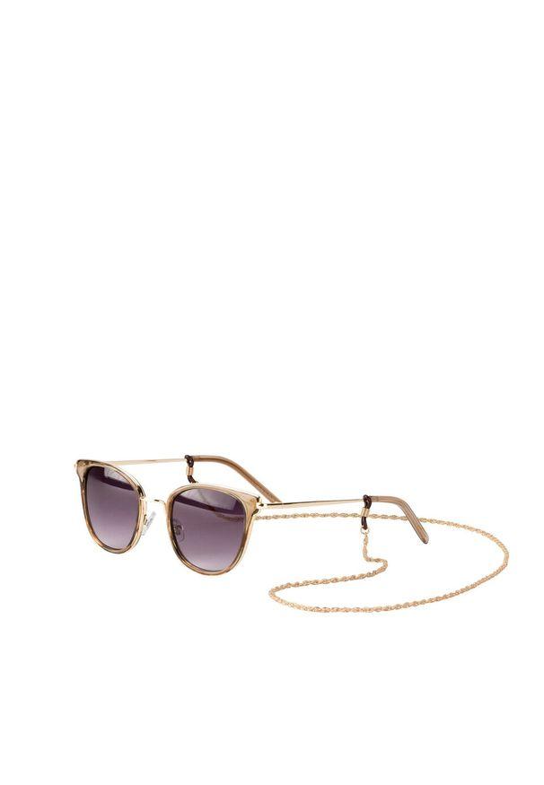 Okulary przeciwsłoneczne z łańcuszkiem bonprix brązowy