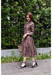 Marie Zélie - Sukienka Fringilla Idyllica. Typ kołnierza: kołnierzyk stójkowy. Materiał: materiał, skóra, tkanina, poliester, wiskoza
