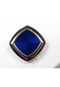 Adam Collection - Srebrne / niebieskie spinki męskie - kwadraty A8. Kolor: srebrny, niebieski, wielokolorowy