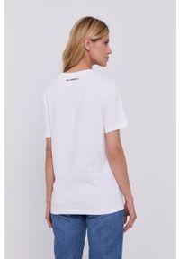Karl Lagerfeld - T-shirt. Okazja: na co dzień. Kolor: biały. Materiał: bawełna. Wzór: aplikacja. Styl: casual