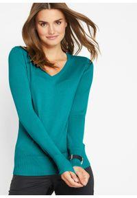 Zielony sweter bonprix na co dzień, casualowy, w prążki