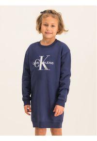 Niebieska sukienka Calvin Klein Jeans casualowa, prosta, na co dzień
