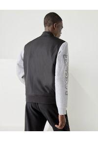 Lacoste - LACOSTE - Kurtka bomberka z logo. Kolor: szary. Materiał: jeans, prążkowany, materiał. Długość rękawa: długi rękaw. Długość: długie. Styl: elegancki, sportowy