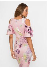 Sukienka bonprix jasnoróżowy w kwiaty. Kolor: różowy. Wzór: kwiaty