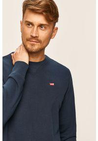 Niebieska bluza nierozpinana Levi's® na spotkanie biznesowe, z okrągłym kołnierzem, biznesowa, w kolorowe wzory