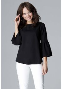 Czarna bluzka Katrus z krótkim rękawem, elegancka