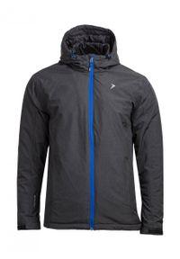 Czarna kurtka narciarska outhorn melanż, na zimę, ze stójką