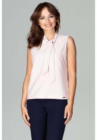 Różowa bluzka Katrus elegancka, bez rękawów