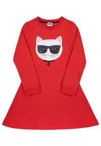 Czerwona sukienka Karl Lagerfeld na co dzień, casualowa, prosta