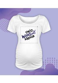 MegaKoszulki - Koszulka damska ciążowa - Oversize z własnym nadrukiem. Kolekcja: moda ciążowa. Wzór: nadruk