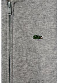 Szara bluza rozpinana Lacoste z kapturem, casualowa, na co dzień, gładkie