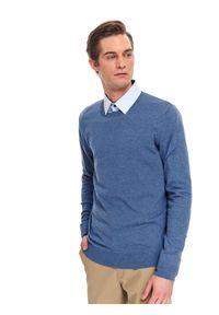 Niebieski sweter TOP SECRET klasyczny, z klasycznym kołnierzykiem