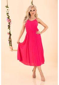 Merribel - Sukienka na Ramiączkach z Plisowanym Dołem - Fuksja. Kolor: różowy. Materiał: poliester. Długość rękawa: na ramiączkach