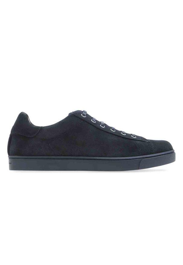 GIANVITO ROSSI - Czarne sneakersy Low Top. Nosek buta: okrągły. Zapięcie: sznurówki. Kolor: czarny. Materiał: guma, zamsz