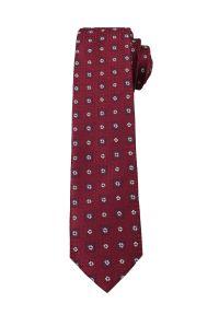 Alties - Bordowy Elegancki Krawat Męski w Małe Kwiatki -ALTIES- 6 cm, Motyw Florystyczny. Kolor: czerwony. Materiał: tkanina. Wzór: kwiaty. Styl: elegancki