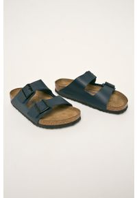 Birkenstock - Klapki Arizona. Kolor: niebieski. Materiał: materiał. Wzór: gładki