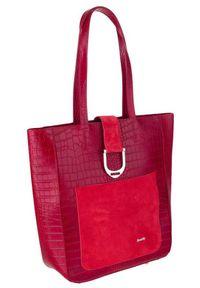 ROVICKY - Torebka damska Rovicky TWR-105 CRO CZERWONY. Kolor: czerwony. Wzór: aplikacja. Materiał: skórzane. Rozmiar: duże. Styl: klasyczny, elegancki. Rodzaj torebki: na ramię