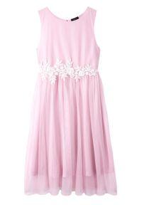Sukienka dziewczęca na uroczyste okazje bonprix jasnoróżowo-biały. Kolor: fioletowy. Materiał: koronka