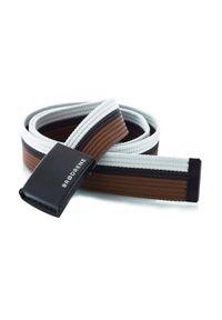 BRODRENE - Pasek męski do spodni parciany Brodrene P11 biało-czarno-brązowy. Kolor: czarny, biały, wielokolorowy, brązowy. Materiał: jeans, skóra, materiał. Wzór: paski. Styl: elegancki