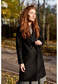 Marie Zélie - Płaszcz wełniany Debora czarny. Kolor: czarny. Materiał: wełna. Wzór: motyw zwierzęcy, ze splotem. Sezon: zima. Styl: klasyczny #9