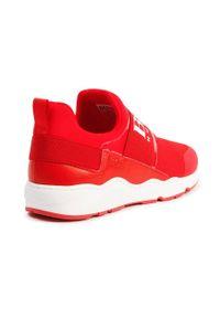 Czerwone buty sportowe BOSS z cholewką, z okrągłym noskiem