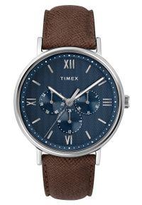 Timex - Zegarek TW2T35100. Kolor: niebieski. Materiał: skóra, materiał