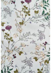 Marie Zélie - Sukienka Asteria Ficiforma kremowa. Kolor: kremowy. Materiał: bawełna, skóra, materiał, elastan. Wzór: gładki. Typ sukienki: trapezowe. Styl: klasyczny