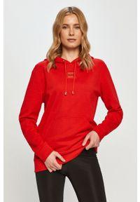 Czerwona bluza Hugo z kapturem, z aplikacjami, na co dzień