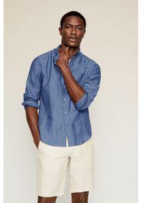 Niebieska koszula Mango Man button down, gładkie