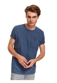 Niebieski t-shirt TOP SECRET melanż