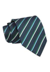 Chattier - Krawat Męski, Granatowy w Zielono-Niebieskie Paski, Klasyczny, Szeroki 7,5 cm, Elegancki -CHATTIER. Kolor: niebieski. Materiał: tkanina. Wzór: prążki, paski. Styl: klasyczny, elegancki