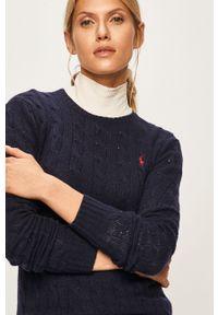 Niebieski sweter Polo Ralph Lauren na co dzień, z okrągłym kołnierzem