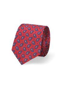 Lancerto - Krawat Czerwony Paisley. Kolor: czerwony. Materiał: jedwab, materiał. Wzór: paisley. Styl: elegancki