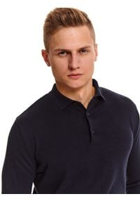 Niebieski sweter TOP SECRET z długim rękawem, długi