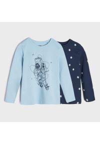 Sinsay - Koszulki z nadrukiem 2 pack - Granatowy. Kolor: niebieski. Wzór: nadruk