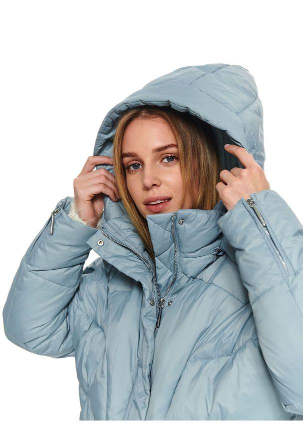 Niebieska kurtka TOP SECRET w kolorowe wzory, na zimę, krótka, elegancka