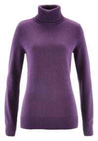 Fioletowy sweter bonprix z golfem