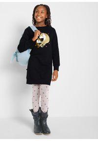 Sukienka dresowa dziewczęca z bawełny organicznej bonprix czarny. Kolor: czarny. Materiał: bawełna, dresówka. Wzór: nadruk #4