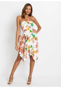 Sukienka z dekoltem halter bonprix beżowo-biały w kwiaty. Typ kołnierza: dekolt halter. Kolor: beżowy. Wzór: kwiaty