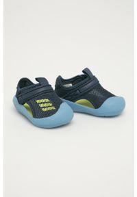Niebieskie sandały Adidas z okrągłym noskiem, na rzepy