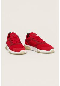 Czerwone sneakersy GANT z okrągłym noskiem, na sznurówki, z cholewką