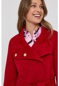 Marella - Płaszcz. Okazja: na co dzień. Kolor: czerwony. Materiał: tkanina. Wzór: gładki. Styl: casual