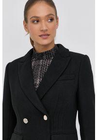 Morgan - Płaszcz z domieszką wełny. Kolor: czarny. Materiał: wełna. Wzór: aplikacja. Styl: klasyczny